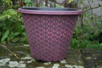 "The 11"" Wicker Planter in the Black with Red Wash colour combination"