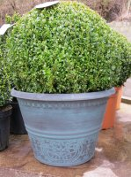 Atlas Planter in Black with Aqua Green