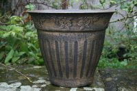 The Floral Fluted Planter in Gold