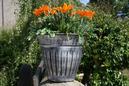 The Floral Fluted Planter in Silver